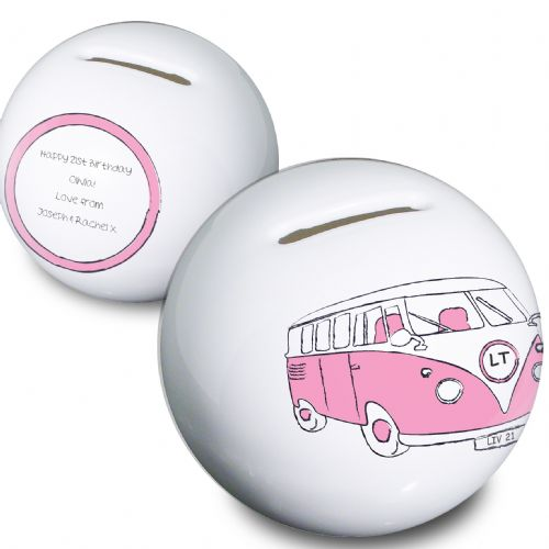 Personalised Pink Camper Van Money Box